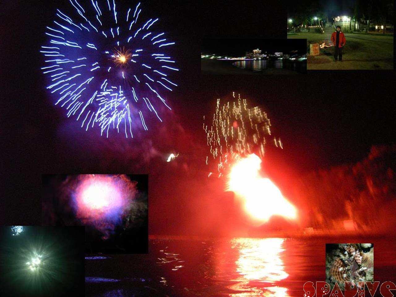 海中で花火観ながら迎新年|ビーチファンダイビング|1/1/2007南紀白浜