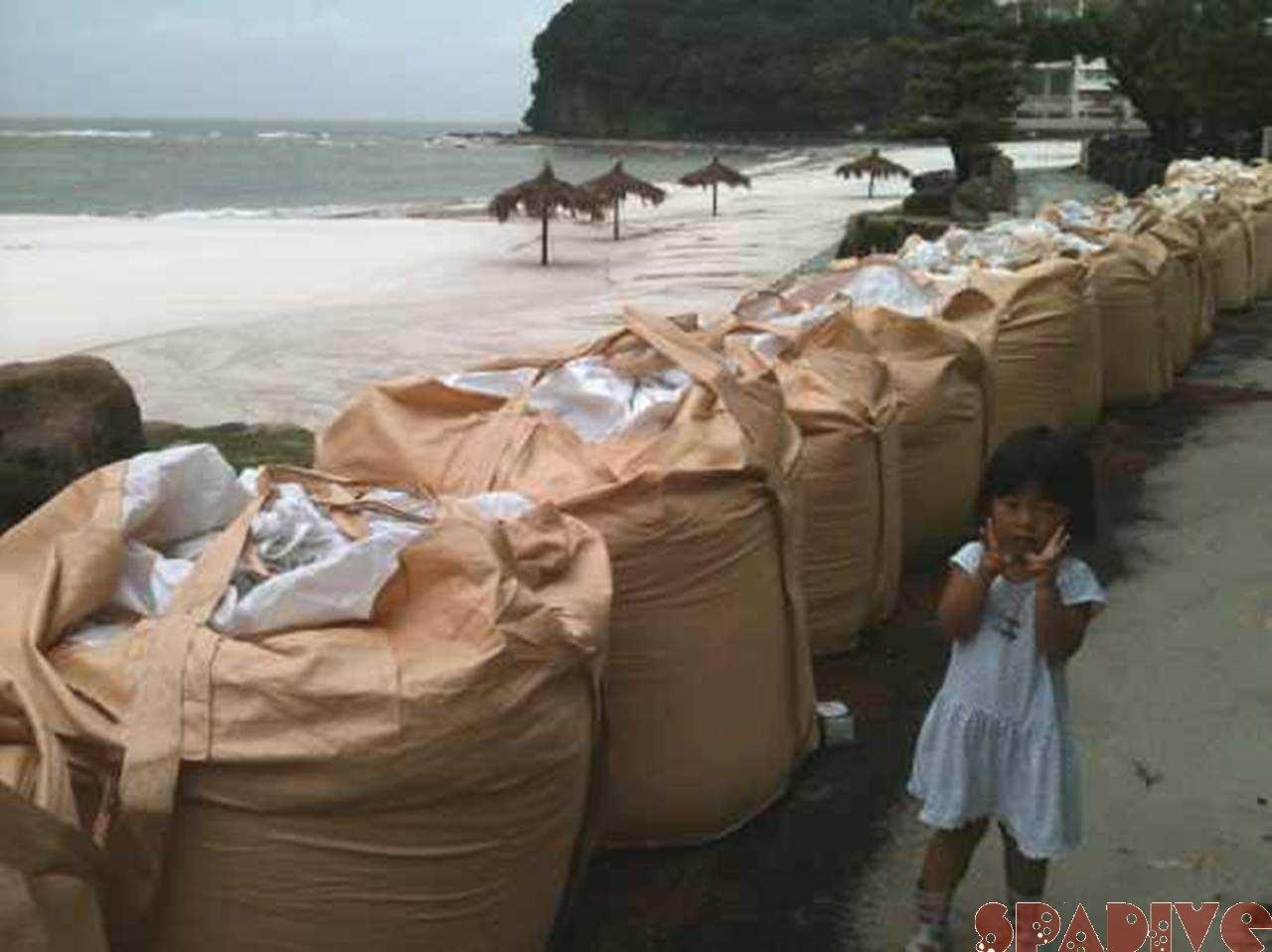 台風で海はまっ茶っチャ !!9/4/2011